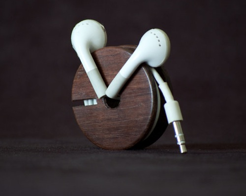 Wooden Earbud Holder